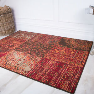 Warm Red Terracotta Rugs Small Large Rug Floral Modern Patchwork Living Room Rug