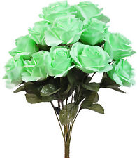MINT GREEN ~ 12 Open Long Stem Roses Silk Wedding Flowers Bouquets Centerpieces