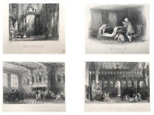 Drawn by T Allom 4 RARE Original Antique Engravings Inc Chappell Scenes (Set 2)