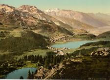 Ober-Engadin. St. Moritz. Generalansicht vom Hahnensee aus. PZ vintage photochro