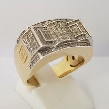 10ct Yellow & White Gold Colonel Pinky Ring With VS Diamonds Size P 1/2
