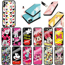Disney Cartoon Mickey Mouse Tempered glass Back Case Cover For iPhone Samsung