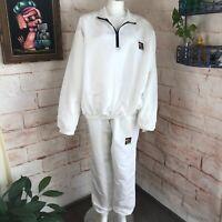 Vintage 80s 90s Surf Style White Windbreaker Jacket Pants Track Suit Tracksuit