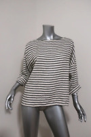 Nili Lotan Top Cream/Black Striped Linen Size Small Boatneck Blouse