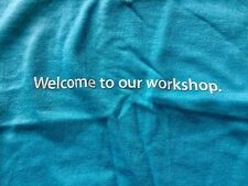 M blue WELCOME TO OUR WORKSHOP APPLE EMPLOYEE t-shirt by AMERICAN APPAREL