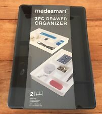 Madesmart (2 Pack) Desk Drawer Organizer Tray for Home Office Sticky Notes Pen