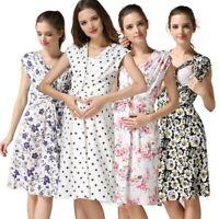 Women's Pregnancy Sleeveless Floral Print Breastfeeding Dress Nursing Sundress