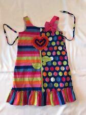 Botique Girls 6X Polka Dot Flower  Ruffles Dress  Striped Bows Party Jenny & Me