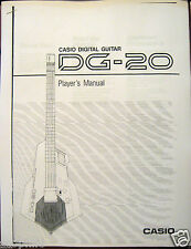 Casio DG-20 Digital Midi Guitar Synthesizer Owner's User's Operating Manual DG20