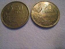 2 Pièces 20 francs G Guiraud 1951 et 1951B 4 plumes