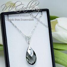 925 Silver Necklace CAP METALLIC BLACK DIAMOND Pear Crystals from Swarovski®