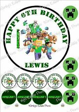 "7"" Personalised Minecraft Cake Topper & 12 x 4cm Cupcake Toppers Edible Icing"