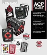 ACE 100% PLASTIC CASINO CARDS IN TIN (2 Pack, 1 red + 1 black) - Made in USA