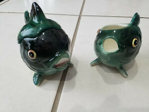 Vintage Cream and Sugar - Green Fish Japan