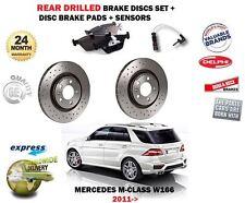FOR MERCEDES W166 ML250 ML350 CDI 2011-> REAR BRAKE DISCS SET + PADS + SENSORS