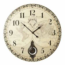 Extra Large Wall Clock Atlas Cream Multi French Vintage Style 60 cm Shabby Chic
