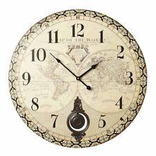 Reloj De Pared Shabby Chic De Péndulo Atlas Crema Francés Vintage 58 Cm Extra Grande