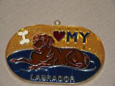 Sun Catcher I Love my Labrador Gift Stained Glass Plastic