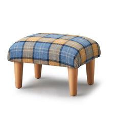 Biagi Upholstery & Design Blue Barley Oatmeal Plaid Tartan Footstool