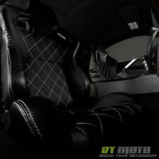 Black/Carbon PU Leather Diamond Reclinable Racing Seat w/Slider Passenger Right