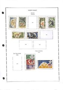 [OP7773] Ivory Coast lot of stamps on 12 pages