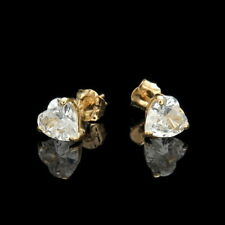 1ct Heart Created Diamond Earrings 14K Solid Yellow Gold Solitaire Basket Studs