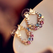 Wholesale 10pairs Chic Mixed Rhinestone Cute Bowknot Drop Stud Earrings Fashion