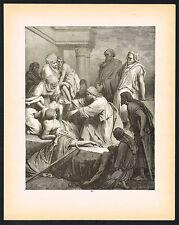 1880s Antique Old Vintage Jesus Healing Sick Bible Dore Art Engraving Print