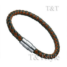 T&T Black Brown Leather With Stainless Steel Magnet Buckle Bangle (BR96)