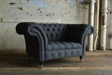 MODERN HANDMADE 1.5 SEAT CHARCOAL GREY WOOL CHESTERFIELD SNUGGLE CHAIR LOVE SEAT
