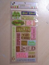 DCWV - NEW - GLITTERED EPOXY SAYING STICKERS - SAFARI KIDS - LITTLE EXPLORER