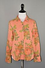J. JILL $79 Pink Floral Jacquard Long Sleeve Button Down Shirt Small