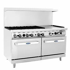 "Atosa ATO-6B24G 60"" Gas Range with (6) burners/24"" Griddle/(2) ovens"