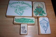 Lot of 5-Season's Greetings/Christmas/Candle/Top Wood Mounted Rubber Stamps