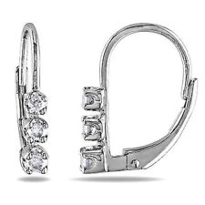 Sterling Silver Diamond Leverback Earrings 0.25 Cttw G-H I3