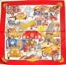 """Auth HERMES """"Confort en Automobile"""" by Caty Latham Red Silk Scarf"""