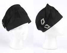 Vtg 1910 1920s Couture J.W. ROBINSON CO Black Satin Cloche Flapper Hat Cut Steel