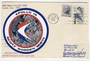 1971 Jul 30th. Apollo 15 Cover. NASA Manned Spacecraft Center.
