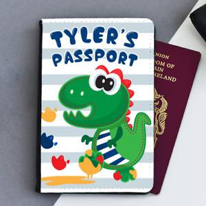 Personalised Dinosaur Footprints Boys Kids Children's Passport Holder Cover