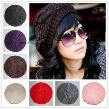 Women Lady girl Winter Warm Knitted Crochet Slouch Baggy Beret Beanie Hat Cap
