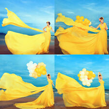 Yellow Chiffon Long Train Evening Dress Quinceanera Prom Party Pageant Ball Gown