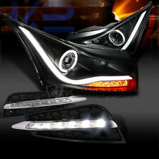 2011-2014 Chevy Cruze Halo LED Black Projector Headlights+SMD LED DRL Fog Lights