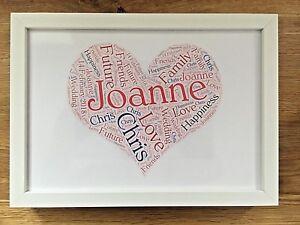 Valentines / Wedding Present Personalised Love Heart  / Gift Word Art