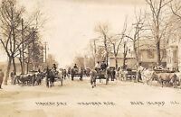 Blue Island Illinois~Western Avenue~Market Day Crowd~Cows & Wagons~1909 RPPC