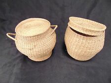 2 small grass baskets hand woven with covers rattan wicker handcrafted tight art