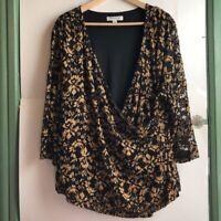 COLDWATER CREEK Plus Size Gold Black V-Neck Lace Wrap Top Blouse 3/4 Sleeve 3X