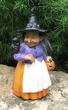 Folk Art WITCH STATUE Figurine w/Pumpkin*Black Owl*Bat Hat*Primitive Fall Decor
