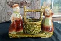 Vintage Shawnee Pottery USA 710 Dutch Couple BOY GIRL Wishing Well Planter