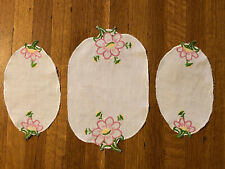 Vintage Handmade Embroidered Chair Doilies Armrest Cover Needlepoint Pink Flower