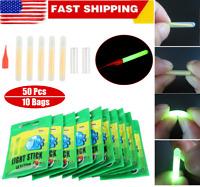 50Pcs Night Fishing Float Glowing Stick Fluorescent Light Green Clip On Dark USA